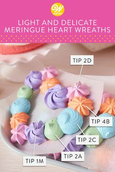 These Light and Delicate Meringue Heart Wreaths are a wonderful Galantine's Day brunch dessert—they pair nicely with a cup of tea and they're a cute and fun way to celebrate your favorite gal pals! Wilton Cake Decorating, Cookie Decorating, Wilton Cakes, Cupcake Cakes, Wilton Icing, Fondant Cakes, Wilton Tips, Wilton Tip Chart, Honey Cookies