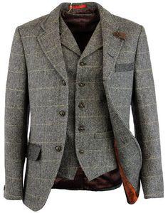 Gibson London Retro Mod Herringbone Blazer and Waistcoat - Grey Mens Fashion Wear, Gents Fashion, Bespoke Clothing, Mens Clothing Styles, Mod Clothing, Indie Outfits, Retro Outfits, Indie Clothes, Best Groom Suits