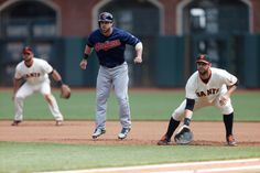 San Francisco Giants' Cleveland Indians' Jason Kipnis (22) gets ready to run as San Francisco Giants watch Buster Posey (28) make a catch in the fourth inning at AT&T Park in San Francisco, Calif., on Sunday, April 27, 2014. (Josie Lepe/Bay Area News Group)