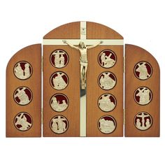 "A 6.5"" x 9"" Stations of the Cross triptych made of Ash wood. Great for doing the Stations at home as a family. Made in Italy."