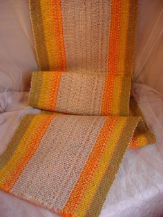 Vtg Hand Woven Wool Striped Runner with Fringe 12 by 68 inches 1970s Retro