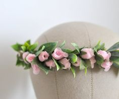 Pink Rose Floral Crown Goddess Hair Crown Engagement by KimArt, $45.00 #etsy #handmade #wedding