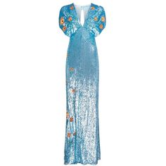 Temperley London Wild Horse Long Dress (18.900 DKK) ❤ liked on Polyvore featuring dresses, gowns, gown, blue, sequin evening gowns, sequin gown, cocktail dresses, sequin evening dresses and blue evening gown