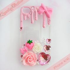 Strawberry Frosting iPhone 4/4S Case | $15.00    SHOP: www.etsy.com/shop/kawaiixcoutureHandmade decoden phone cases, jewelry, & accessories ♡
