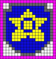 Alpha Friendship Bracelet Pattern added by cendrillon. Ryder Paw Patrol, Paw Patrol Badge, Paw Patrol Party, Hama Beads Patterns, Beading Patterns, Beaded Cross Stitch, Cross Stitch Patterns, Graph Paper Art, Peler Beads