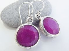 Violet Round Jade Stone Dangly Earrings With by Lylaaccessories