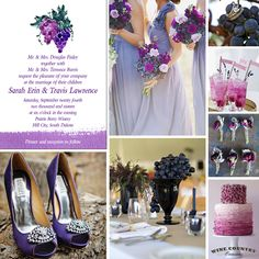Grape Bunch Watercolor Wedding Invitation Inspiration Board for a vineyard wedding. - Wine Country Occasions, www.winecountryoccasions.com