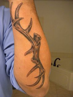 Antlers Tattoo by Nathan - http://www.tattooideas1.org/placement/forearm/antlers-tattoo-by-nathan/