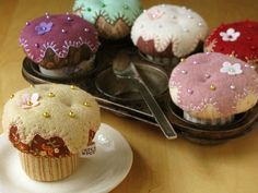 CupCake Pincushions |  by PatchworkPottery via Flickr