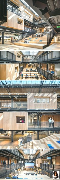 30 pictures of airbnb's spacious dublin headquarters factory architecture, stairs architecture, library architecture, Corporate Office Design, Office Interior Design, Office Interiors, Corporate Interiors, Office Designs, Commercial Interiors, Interior Architecture, Factory Architecture, Stairs Architecture