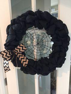"""Halloween Burlap Wreath 18"""", Halloween Decor, Burlap Wreath for Halloween, Fall Burlap Wreath"""