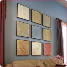 I did this version of wall art.  It cost me less than $20.  I found frames that were $1 each and got 9.  And spent $10 on a big pack of paper and  only used a fraction.