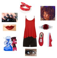 """""""Steven universe Ruby"""" by batcat20 on Polyvore featuring WearAll, Vans, BERRICLE, Jeffree Star and LA: Hearts"""