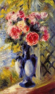 Bouquet Of Roses In A Blue Vase by Pierre Auguste Renoir