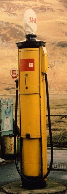 An old Shell petrol pump in the Scottish Highlands still in use in the 1980s