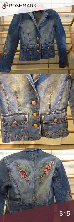 "Cute Embroidered Jean Jacket Size Small Size small cotton denim jacket by OXOX Embroidered, cool metal buttons. 28"" bust, 26""waist, 28""hips, 20"" long. In good condition. OXOX Jackets & Coats Jean Jackets"