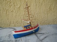 Vintage Authentic Wooden Handmade Carved & Hand-Painted Sailboat Toy Retro | eBay $45