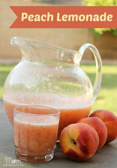 Peach Lemonade ~*! Here's what you'll need: blender, one 12-oz can of frozen lemonade, 3 fresh peaches, 4 ounces of cold water (fill the can up 1/3 of the way), ice.