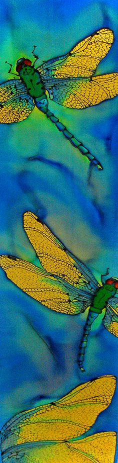 Silk Wallhanging. Blue Dragonflies on 8 x 52 by SirenSilkScarves $186