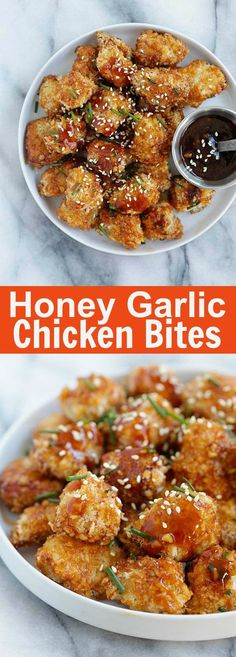 - Honey Garlic Chicken Bites Panko-Crusted Baked Chicken Nuggets With A Sweet And Savory Honey Garlic Sauce. So Sticky Sweet And Good Baked Chicken Nuggets, Chicken Nugget Recipes, Chicken Bites, Chicken Panko, Fingers Food, Honey Garlic Sauce, Baked Honey Garlic Chicken, Roasted Garlic, Nuggets Recipe