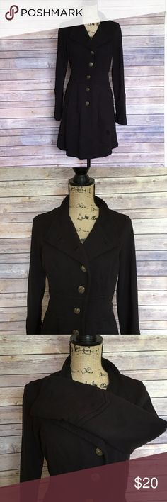 CAbi Black Cotton Jacket Size Medium Cabi Black Lightweight Jacket Not Lined Gold Button accents In excellent condition. 100% cotton CAbi Jackets & Coats