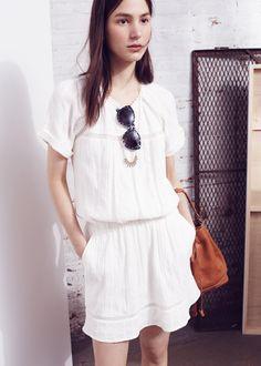 Madewell summerhouse dress worn with mini-lightbeam necklace + oversized hepcat shades.