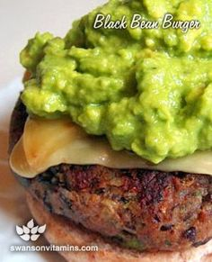 Delicious Black Bean Burgers - Rice instead of bread crumbs. Vegan cheese. YUM!