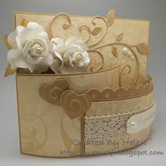 (From a Scor-Pal book). Very pretty! Tri Fold Cards, Fancy Fold Cards, Folded Cards, Pop Up Cards, Cool Cards, Tarjetas Pop Up, Step Cards, Interactive Cards, Shaped Cards