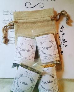 Four Elements Herb Set - The Barefoot Witchery Shoppe Book Of Shadows, The Conjuring, Natural Linen, Herbs, Positive Vibes, Barefoot, Feminine, Earth, Kit