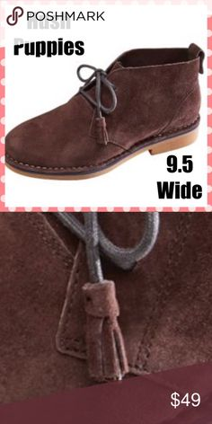 Hush Puppies Brown suede bootie.  Wide width.  Only tried on, never worn outside.  Chukka Boot for women. Stitched welt, tassel ties for a feminine touch. Hush Puppies Shoes