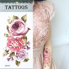Hot 3D tattoos one time temporary tattoos Arm flower tattoo waterproof female body art tattoo model AW 012-in Temporary Tattoos from Health & Beauty on Aliexpress.com | Alibaba Group
