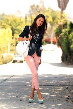 VIVALUXURY - FASHION BLOG BY ANNABELLE FLEUR: Pink Jeans Post :) Jeans – J Brand, Blazer – Zara, T-shirt – Just Cavalli, Bag – Dior, Pumps – Casadei, Ring - Emporio Armani May 31, 2011