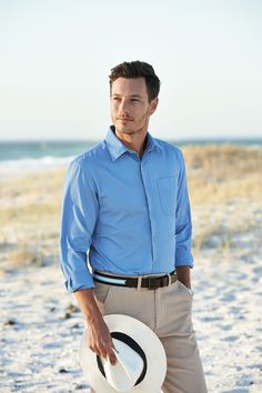 Our cotton twill shirt in cornflower is the ideal shade to wear this summer.