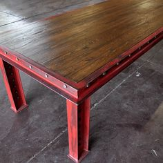 Standard size: 96 x 40 x 30 tall Shown with an aged red finish, and a reclaimed boxcar oak top. Please note that all wooden tops manufactured by Vintage Industrial include a 3 - 6 breadboard on both ends of the table to prevent warping of hardwoods. Welded Furniture, Industrial Design Furniture, Vintage Industrial Furniture, Steel Furniture, Repurposed Furniture, Art Furniture, Furniture Projects, Rustic Furniture, Industrial Style