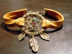 Bohemian Gypsy Native Inspired Dream Catcher Leather Bracelet     (br012). $23.00, via Etsy.
