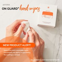 dōTERRA On Guard Hand Wipes are made for your busy life on the go. Ideal for travel or daily outdoor activities, these wipes fit easily in your car, purse, briefcase, backpack, or suitcase. Infused with the cleansing power of the proprietary dōTERRA On Guard oil blend, the wipes thoroughly and gently clean your hands. Check them out! my.doterra.com/womenshealth