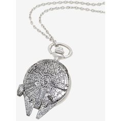 Star Wars Millennium Falcon Watch Necklace (70 PEN) ❤ liked on Polyvore featuring jewelry, necklaces, galaxy jewelry, cosmic jewelry, galaxy necklace, long necklace and planet necklace