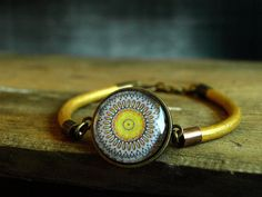 Mandala bracelet Yellow brown mustard leather thong bracelet wrap bracelet Glass dome bracelet Brass adjustable cabochon bracelet picture