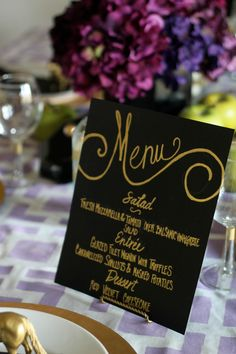 DIY menu sign by PartiesforPennies.com #entertaining #tablescape