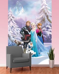 Disney Frozen Wallpaper Mural Wallpaper Mural at AllPosters.com Can't wait to do this to dayleighs room