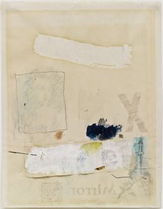 Robert Rauschenberg - 1952, Untitled (Mirror). Transfer drawing, oil, watercolor, crayon, pencil, and cut-and-pasted paper on paper(26.7 x 21.6 cm) MOMA