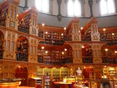 Library of Parliament /  Bibliothèque du Parlement, interior. Established ca. 1790. This library built 1876. Open to the public. Free tours. Wellington Street, Ontario, Canada.