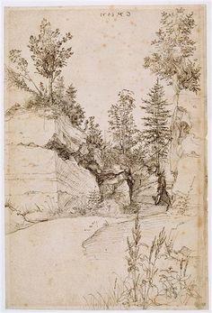 AlbrechtDürer (All. 1471-1528),Paysage ; route bordée de rochers abrupts et d'arbres près de Nuremberg,1505,plume, 32,6 x 21,8 cm,Bayonne, musée Bonnat