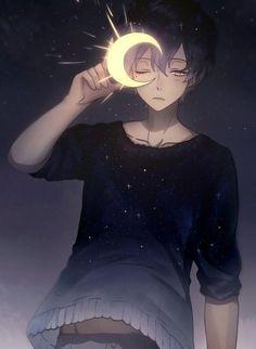 Sky, moon and boy Trouble obtaining anime? If you need to get started with anime Manga Anime, Art Manga, Manga Boy, Anime Boy Drawing, Hot Anime Boy, Cute Anime Guys, Anime Boys, Fan Art Anime, Image Manga