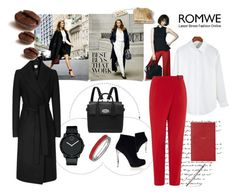 """""""Office Style with ROMWE"""" by vicko-kk ❤ liked on Polyvore featuring Nicholas Kirkwood, Mulberry, Topshop, Movado, Fountain, Smythson and romwe"""