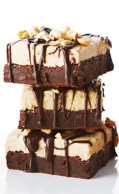 Fudgy Brownies with Peanut Butter Frosting recipe #BiteMeMore