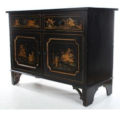 Black Lacquered Japanned Chinoiserie Side Cabinet
