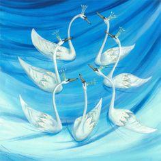 Carolyn Pavey - Seven Swans a Swimming ORIGINAL