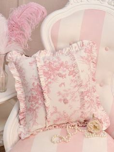 ruffles and things | Pink toile ruffle pillow