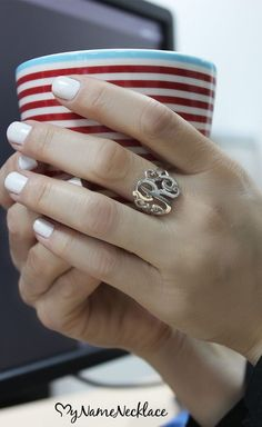 Monograms have always been a hot trend seen throughout the world of fashion, and now you too can be stylish and chic with your own Silver Monogrammed Ring! A monogrammed ring not only shows off who you are, but also your stylish and unique personality. Show how much you love the monogram jewelry craze with this silver monogram ring. Available with up to three initials, perfect for yourself or as a gift
